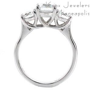 Henderson contemporary custom three stone engagement ring with a high polished profile trellis design.