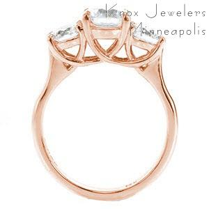 Pittsburgh contemporary custom rose gold three stone engagement ring with a high polished profile trellis design.