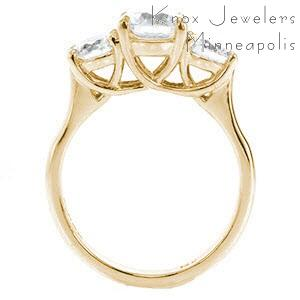 McAllen contemporary custom three stone engagement ring with a high polished profile trellis design.
