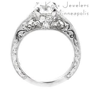 Filigree engagement ring in Miami with round brilliant center stone and  relief hand engraving.