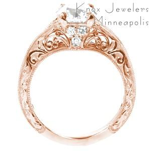 Houston rose gold wedding ring with scroll filigree, relief hand engraving and round center stone.