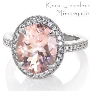 Morganite Halo Engagement Rings in Milwaukee