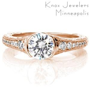Antique rose gold engagement rings in Chicago are hand detailed with stunning relief style hand engraving and diamonds.