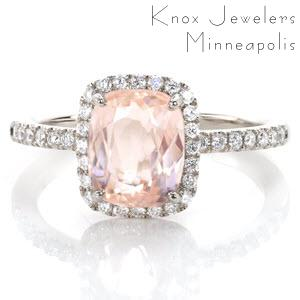Colorado Springs custom halo engagement ring with a micro pave rose gold diamond band with a unique cushion cut morganite center stone.