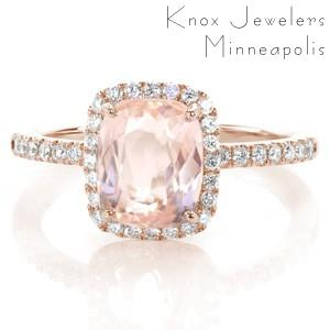 Ottawa custom halo engagement ring with a micro pave rose gold diamond band with a unique cushion cut morganite center stone.