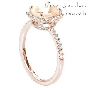Oklahoma City rose gold custom halo engagement ring with a micro pave rose gold diamond band with a unique cushion cut morganite center stone.