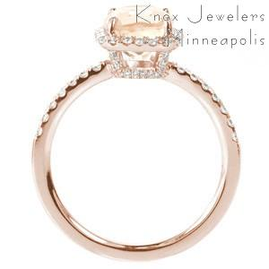 Los Angeles rose gold custom halo engagement ring with a micro pave rose gold diamond band with a unique cushion cut morganite center stone.