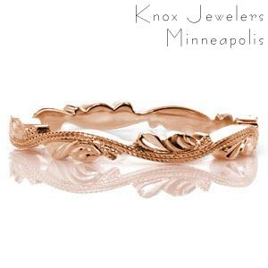 Rose gold wedding ring in Ottawa with double milgrain woven band and delicate petals.