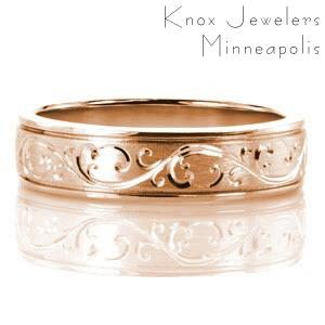 Denver unique rose gold wedding bands featuring intricate hand engraved patterns with a brushed finish.