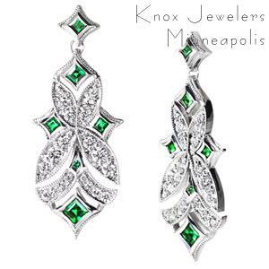 Emerald and Diamond Dangle Earrings - Earrings
