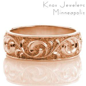 Cleveland rose gold wedding ring with scroll filigree, stippled texture and milgrain border.