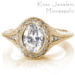 Halo antique engagement ring in Oklahoma City made in yellow gold