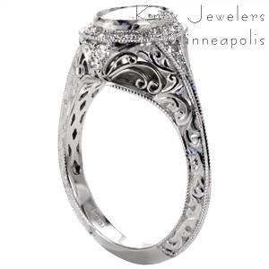 Unique Engagement Rings in Milwaukee featuring oval diamond in a vintage halo with filigree.