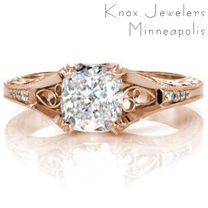 San Jose custom rose gold engagement ring with vintage detailing and a cushion cut center diamond.