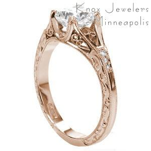 Detroit custom rose gold engagement ring with vintage detailing and a cushion cut center diamond.