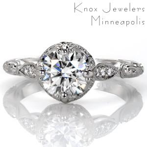 Vintage styled engagement rings in Milwaukee made in platinum.