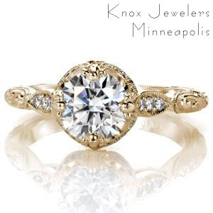 Custom engagement ring with round brilliant center stone, engraved band, diamonds and milgrain in Memphis.