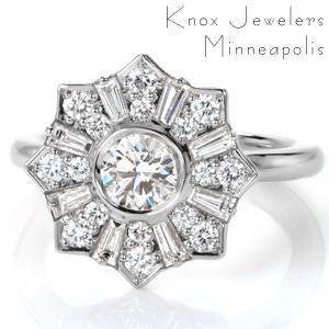 Antique inspired custom engagement ring in Henderson with a unique star burst halo surrounding a round center diamond.