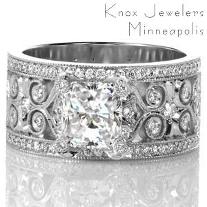Unique intricate Wide Band Heirloom engagement ring in Salt Lake City.