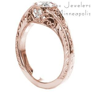 Rose gold custom engagement ring in Los Angeles with a round diamond held in a unique octagon setting with hand formed filigree and engraving.