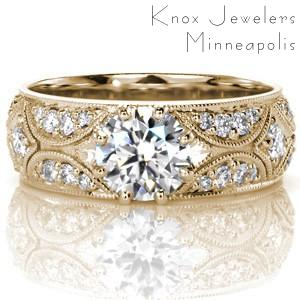 Yellow gold engagement ring in Tucson with diamond band and round brilliant center stone.