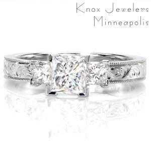 Custom hand engraved engagement ring in Phoenix