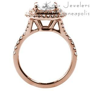 Custom rose gold engagement ring in San Diego with a round brilliant diamond surrounded by a double diamond halo.