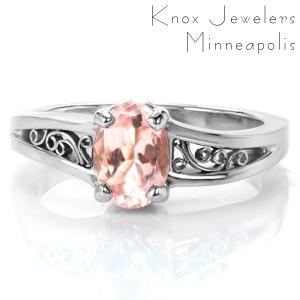 Las Vegas custom engagement ring with morganite center stone and filigree in a white gold setting.