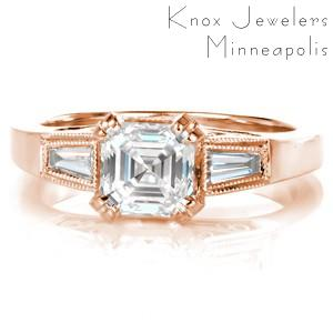 Rose gold custom engagement ring in Green Bay with an asscher cut center diamond held by diamond set prongs and profile filigree curls.