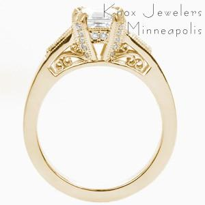 Vintage inspired custom engagement ring in Ann Arbor with an asscher cut center diamond held by diamond set prongs and profile filigree curls.