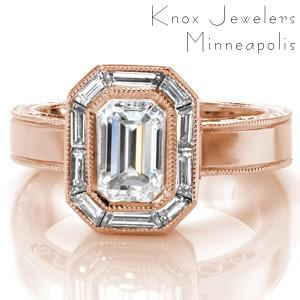 Vintage inspired custom rose gold engagement ring in Tucson with a unique baguette diamond halo surrounding an emerald cut diamond center.