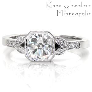 Custom engagement ring in Houston with radiant center stone and milgrain detail.