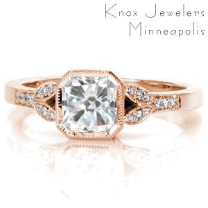 Vintage inspired rose gold custom engagement ring in San Diego with a radiant cut center diamond and a milgrain edged split shank.