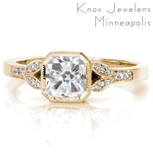 Vintage inspired custom engagement ring in New Orleans with a radiant cut center diamond and a milgrain edged split shank.