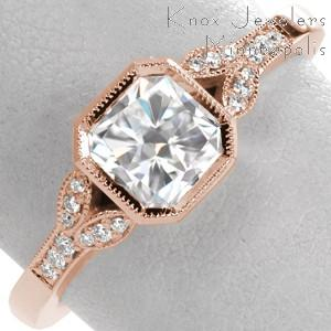 Rose gold wedding ring with full milgrain bezel, radiant center stone and delicate petals.