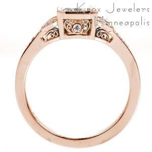 Vintage inspired rose gold custom engagement ring in Des Moines with a radiant cut center diamond and a milgrain edged split shank.