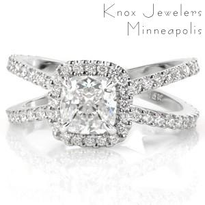 Split shank engagement ring in San Jose with cushion cut center stone and halo.