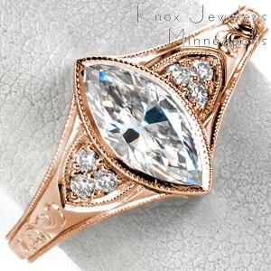 Dayton rose gold engagement ring with marquise center stone, milgrain bezel and hand engraving.