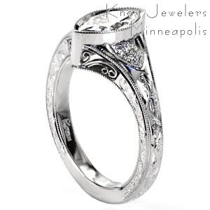 Unique antique engagement ring in Honolulu featuring exquisite hand engraving and hand formed filigree in Honolulu.
