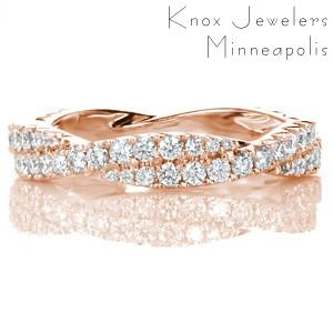 Unique braided rose gold wedding band in Atlanta. This gorgeous diamond and rose gold band features a woven design with graduating diamond sizes.