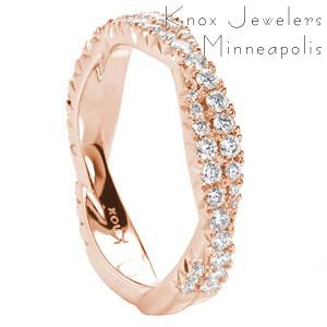 Custom rose gold wedding ring with twisted diamond bands in Raleigh.