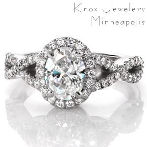 Halo engagement ring in Kansas City with oval center stone and woven band.