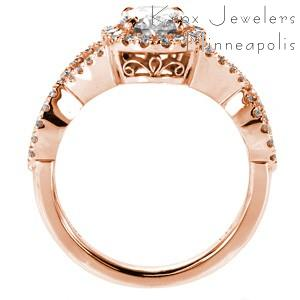 Custom rose gold oval diamond engagement ring in Cincinnati with a unique overlapping band and mirco pave diamond halo.