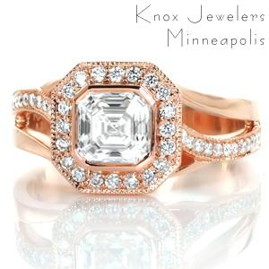 Rose gold engagement ring in Jacksonville with asscher cut center stone, octagon diamond halo and asymmetrical band.