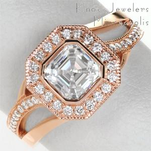 Unique rose gold engagement rings in Chicago. This beautiful halo design is featured in rose gold with micro pave diamonds surrounding an asscher cut center diamond. The movement of the band adds a unique flair.