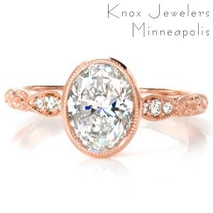 Antique engagement ring in El Paso with milgrain bezel, relief engraving, and diamonds.