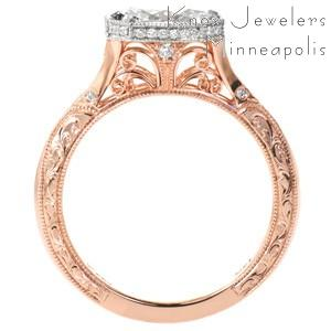 New Orleans rose gold engagement ring with hand engraving, filigree and micro pave diamonds.