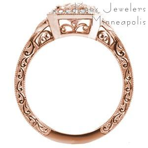 Rose gold engagement ring in Charlotte with filigree, hand engraving and milgrain.
