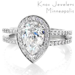Design 3454 - Micro Pavé Engagement Rings - Pear