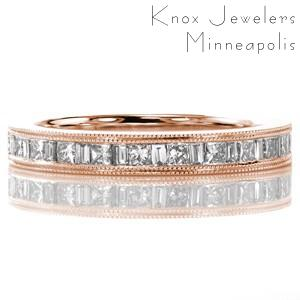Atlanta has stunning rose gold diamond wedding bands. This exquisite channel setting features princess cut and baguette diamonds in rose gold.